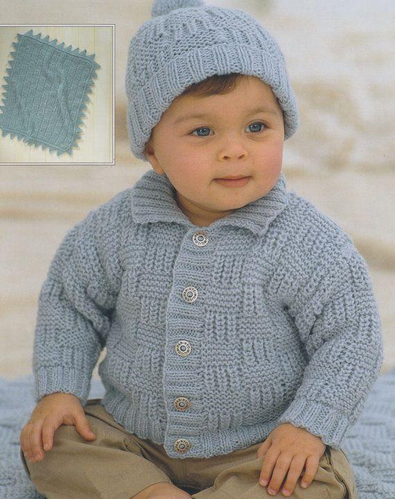 Baby child knitting pattern cardigan pompom hat and ...