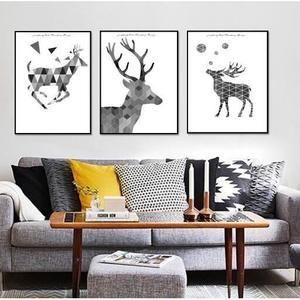 Moderne Géométrique Abstraite Elk Salon Peinture 3 Pièces Sans Cadre Toile Affiche Décor À La Maison de Noël (sans cadre)