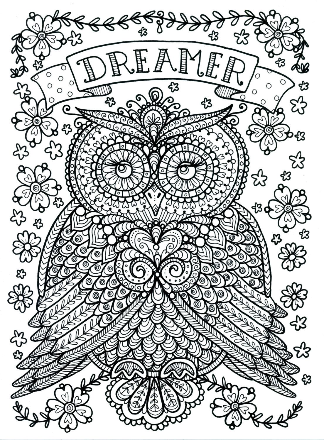 poster to color large size 11x14 owl dreamer door chubbymermaid - Posters To Color