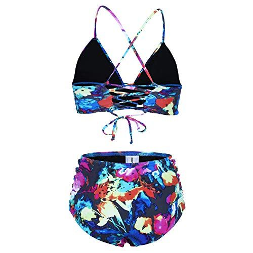 2ee4965bd6 Dixperfect Women s Swimwear Two Pieces Lace Up Back Longline Triangle Bikini  Top High Waist Tie Strappy Sides Bottom