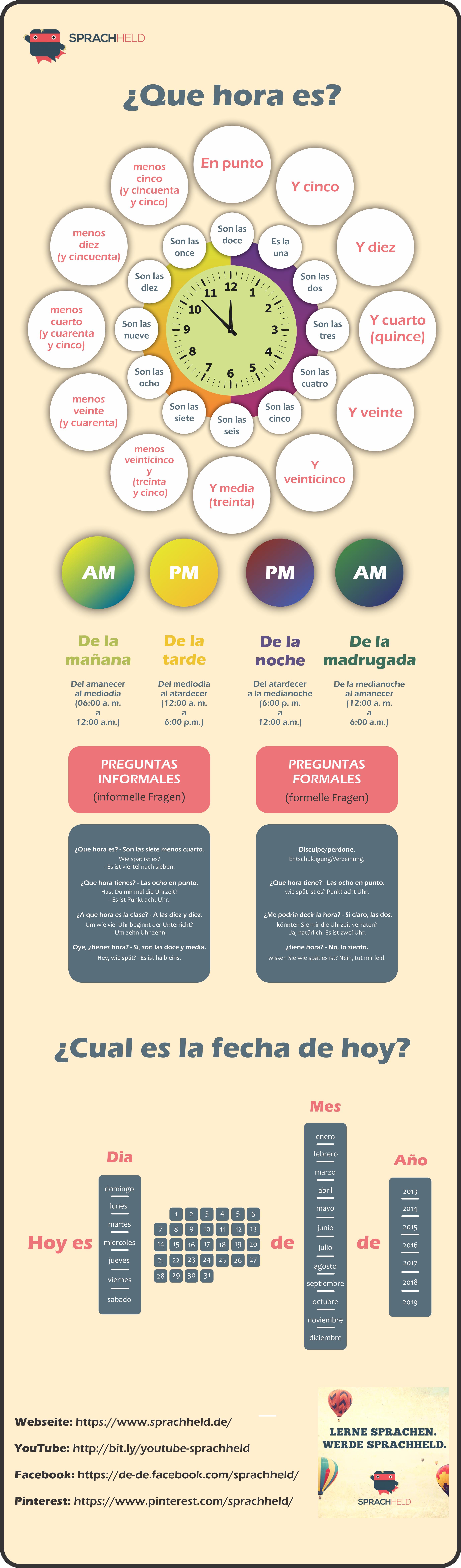 Die Uhrzeit (und das Datum) auf Spanisch lernen! #spanishthings