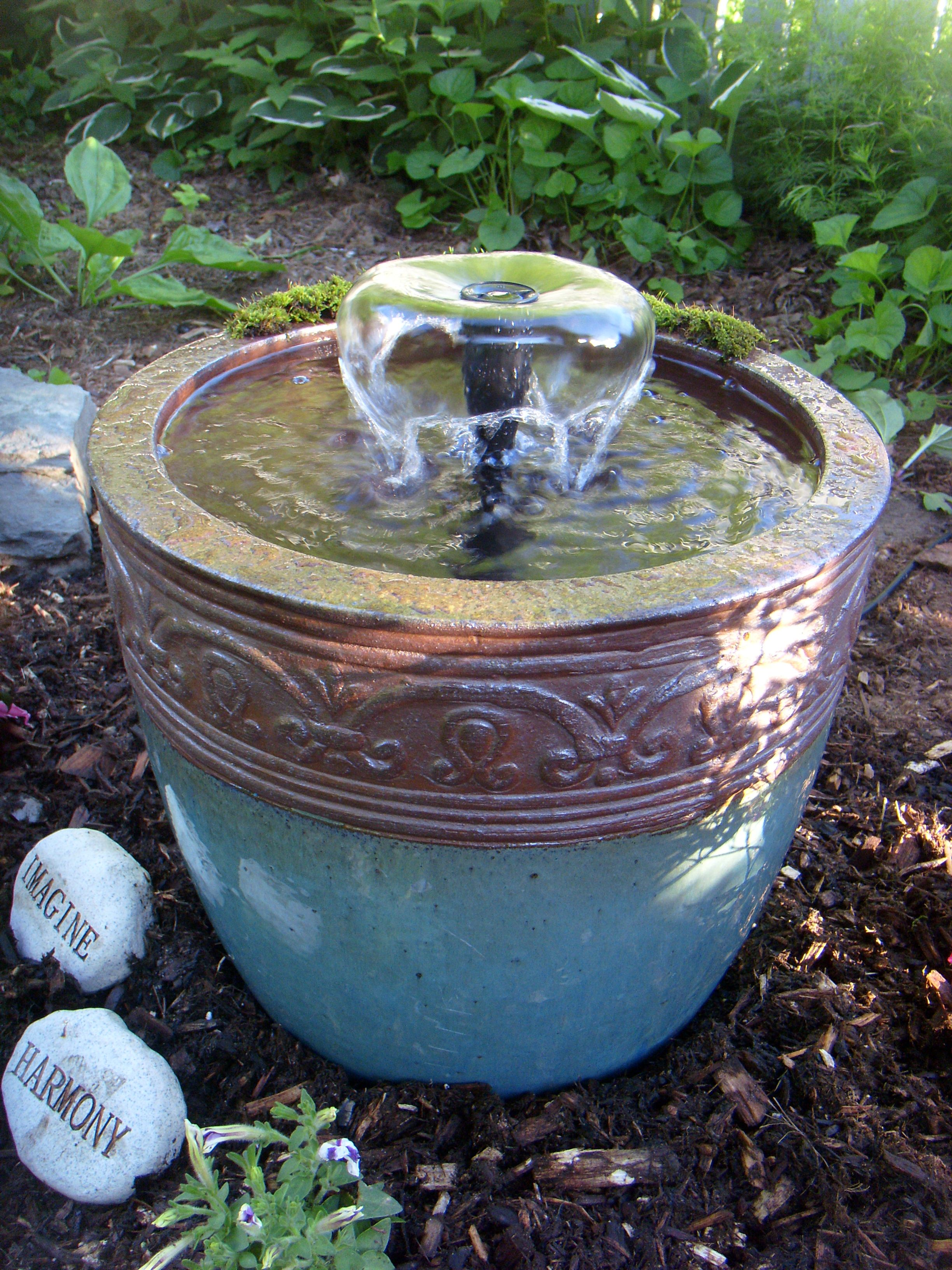 Bon #DIY Flower Pot Fountain $20 Pump Kit From Lowes, $16 Pot From Ocean State.  Small Backyard PatioBackyard PondsBackyard Water ...