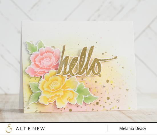 Hello card by Melania Deasy (Lacy Scrolls & Super Script)