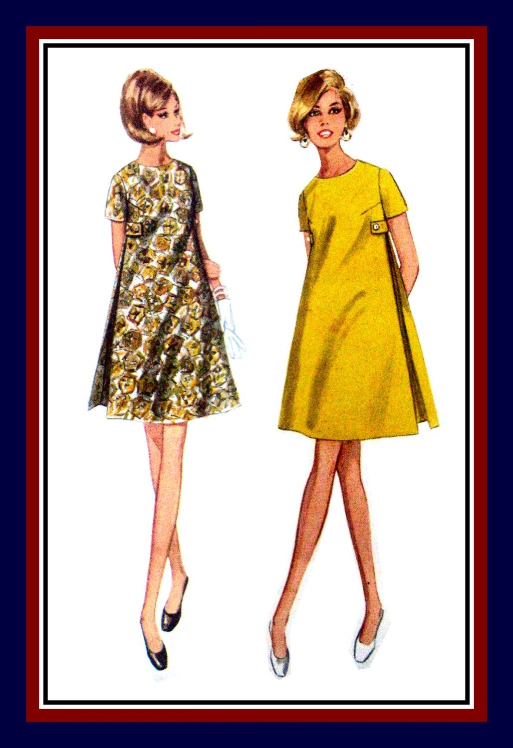 Vintage 1960s-MOD TRAPEZE DRESS-Sewing Pattern-A-Line -Inverted Side ...