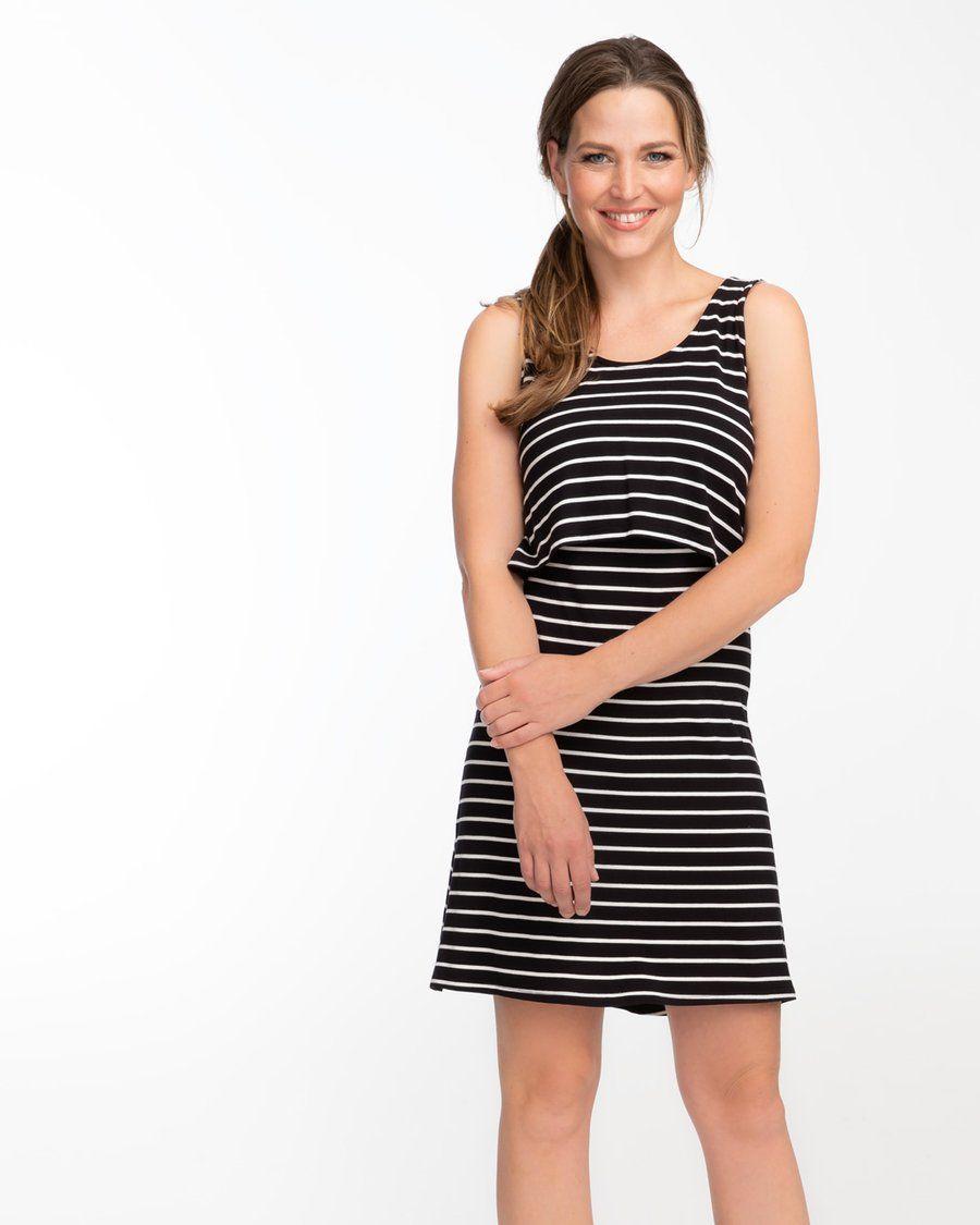 1ebb67a610e1a Black and white striped singlet dress for breastfeeding by Peachymama