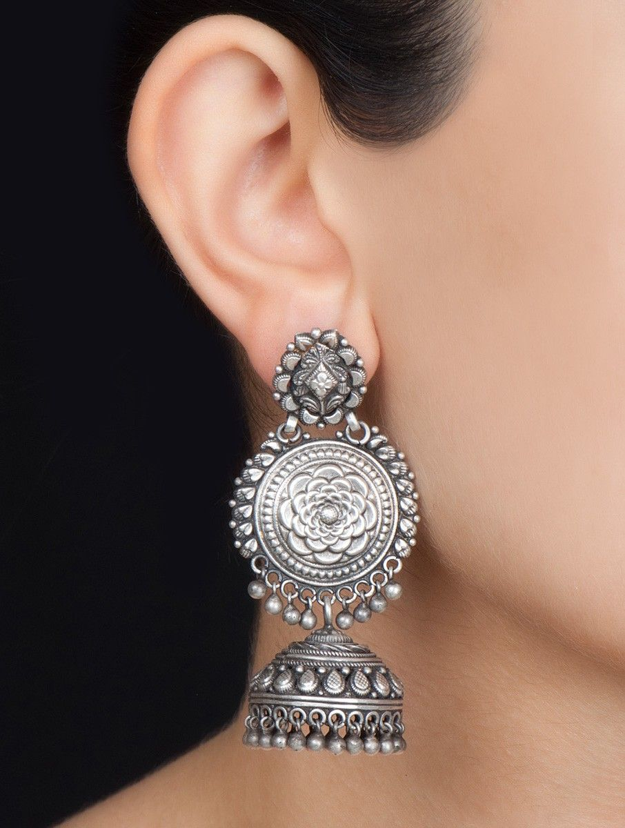 Buy Silver Floral Jhumkis Jewelry Earrings Colaba Tales Etched With Hand  Painted Idol Motifs Online At