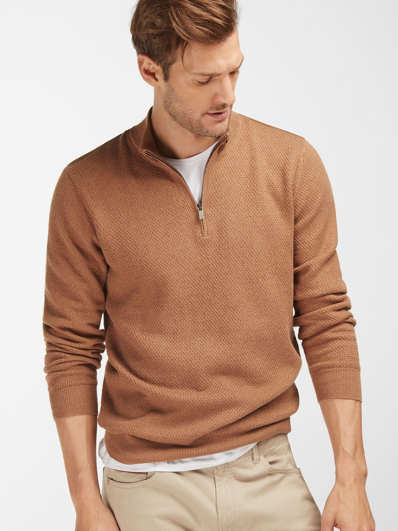 CAMEL SWEATER WITH LEATHER DETAILING - Massimo Dutti - | Massimo ...