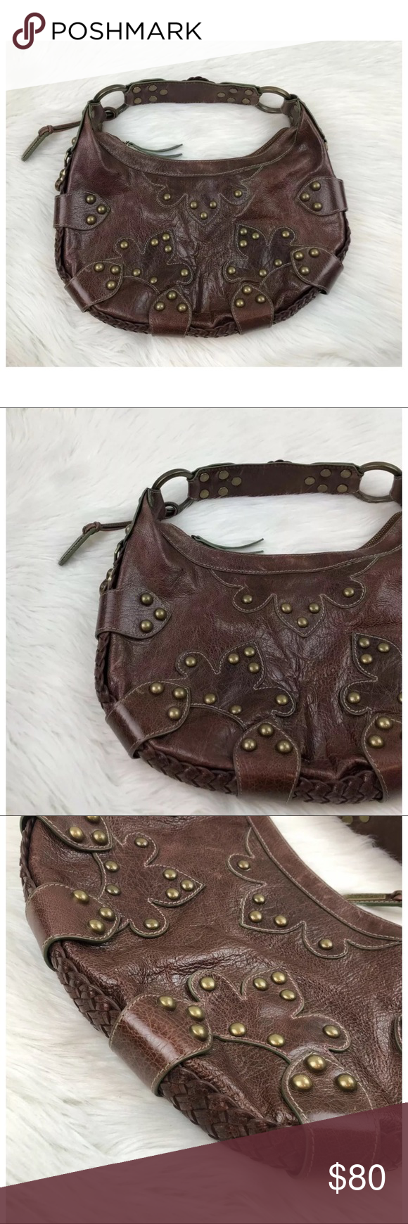 1cf0c00221 Isabella Fiore Oasis Brown Studded Leather Hobo Isabella Fiore Oasis Brown Studded  Leather Hobo Measures Approximately
