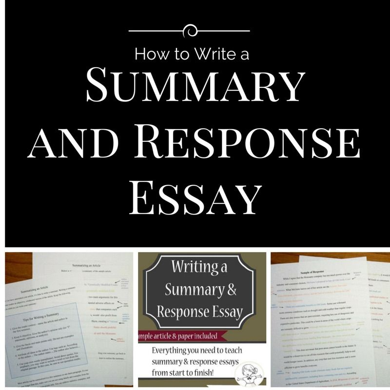 Thi Complete Unit I A Step By In Depth Proces For Writing Summary And Response Essay It Contain Fu Teaching Essays