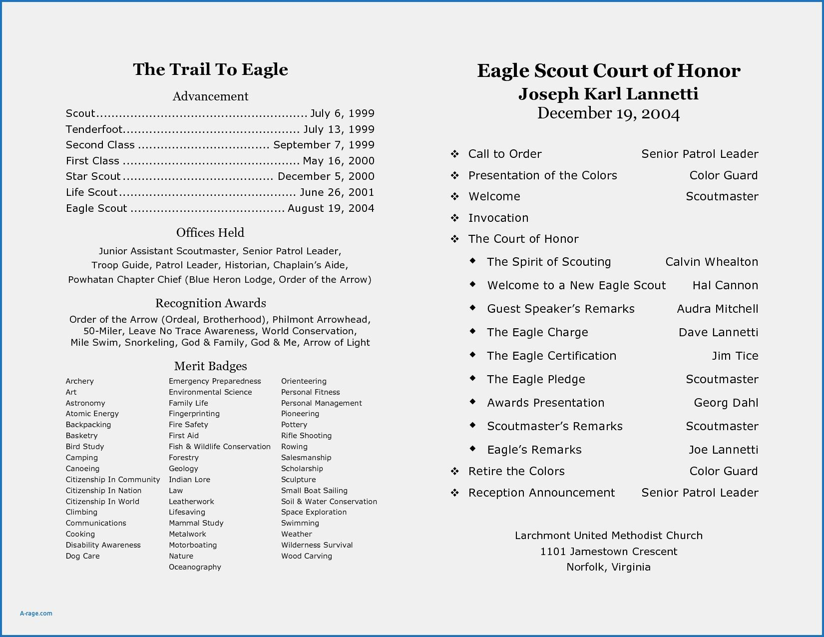 Image Result For Eagle Scout Program Template With Images