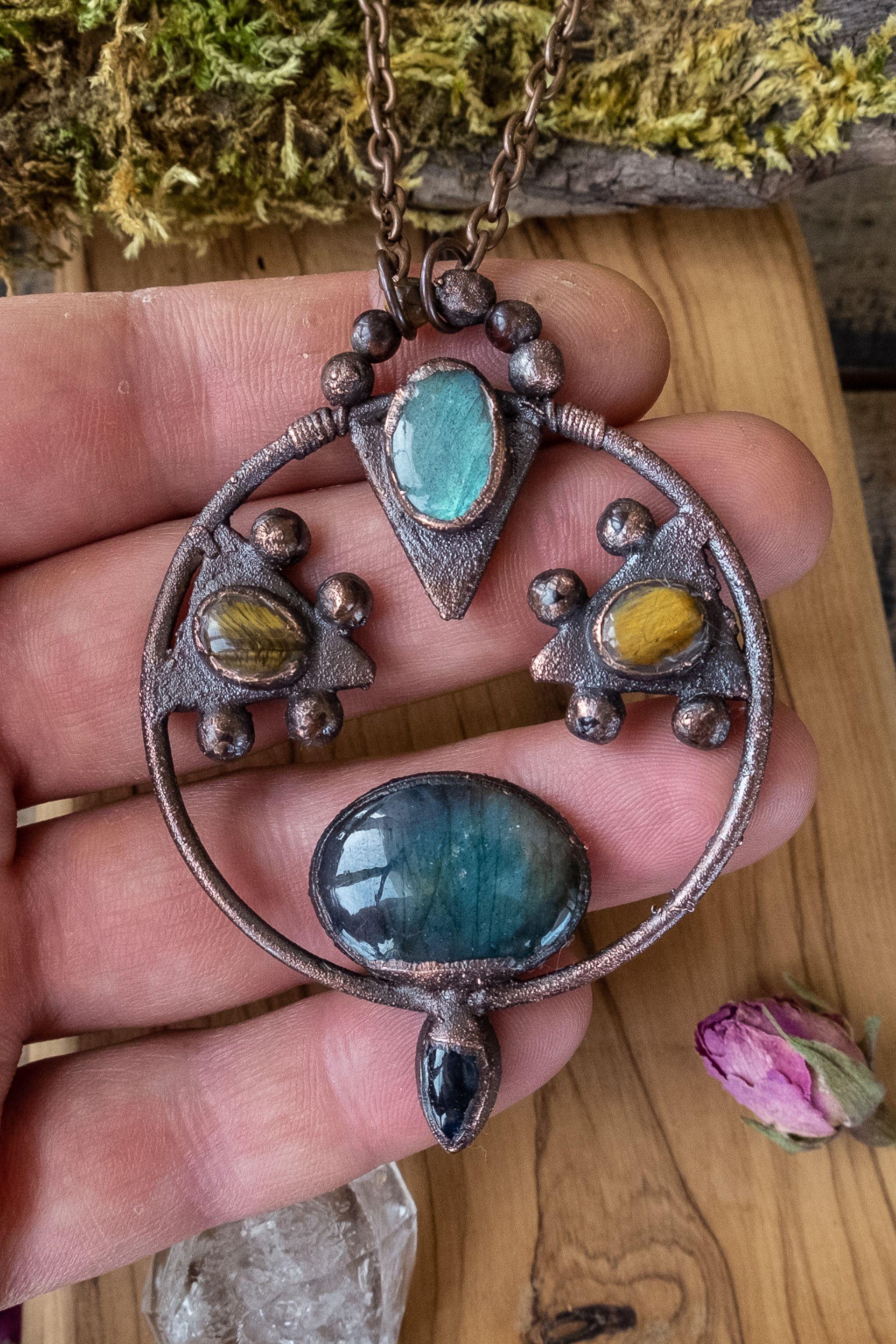 Electroformed Necklace Wiccan Necklace Gothic Necklace Raw Crystal Necklace Statement Crystal Necklace Labradorite Necklace