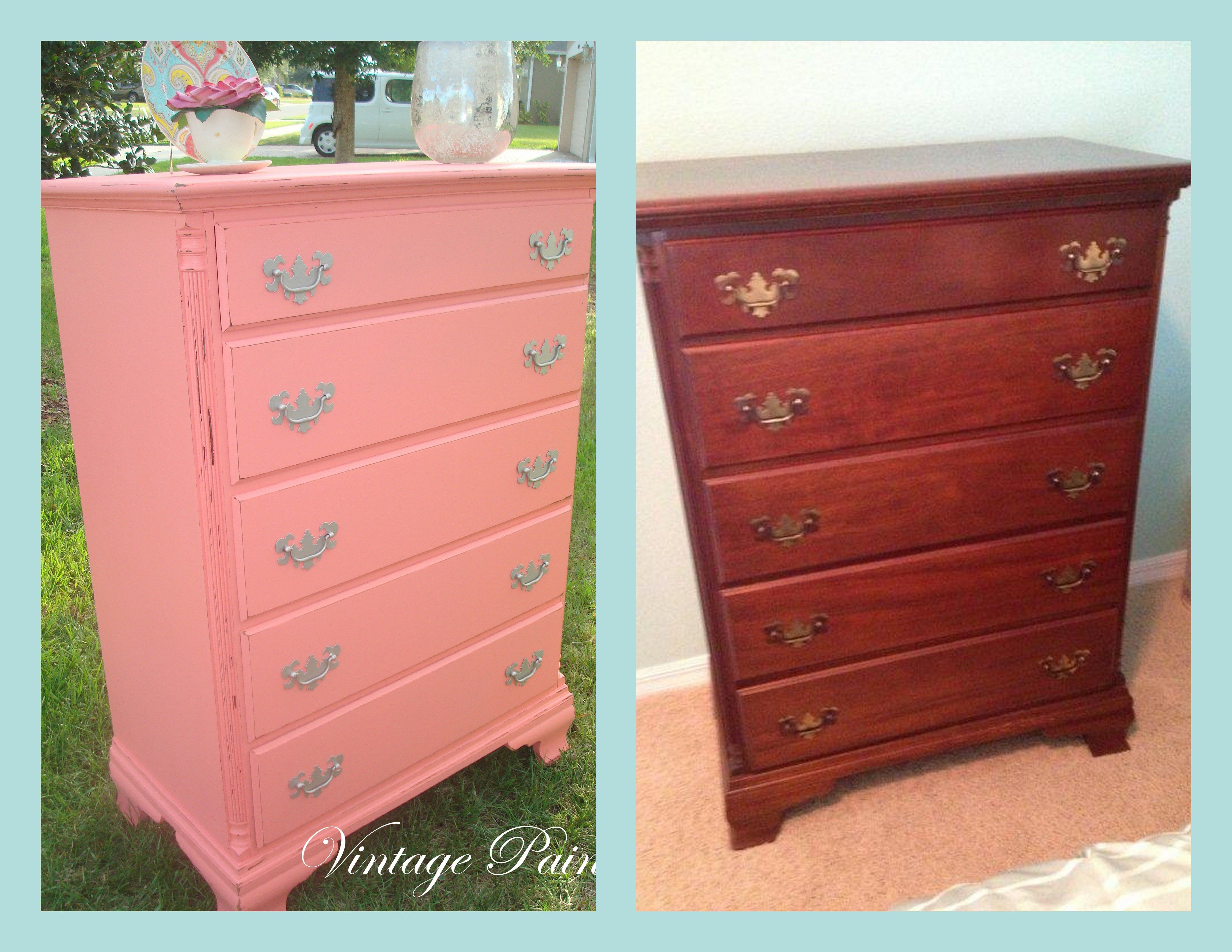 An Old Mahogany Chest Of Drawers Is Now Modern And Fun In Gables By Moore  All Work Done By Vintage Paints In Orlando, FL