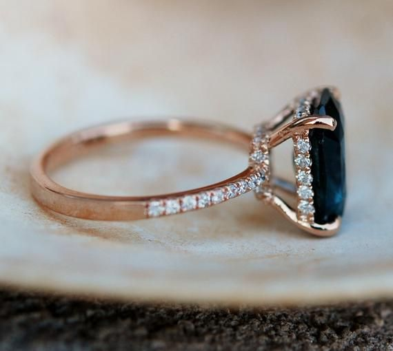 Peacock sapphire engagement ring. 2.6ct emerald cut blue green sapphire ring diamond ring 14k Rose gold ring by Eidelprecious
