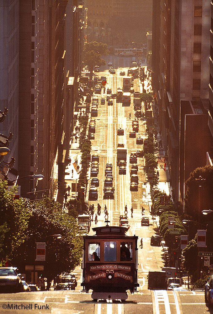 Cable Car On Golden California Street On Nob Hill San Francisco Www