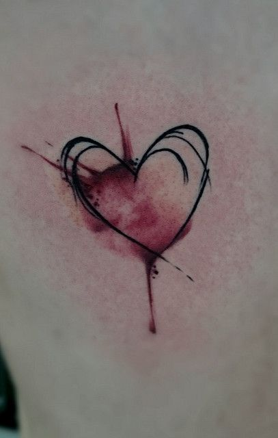 Watercolor Tattoo Heart Love Sketch Arlinaa