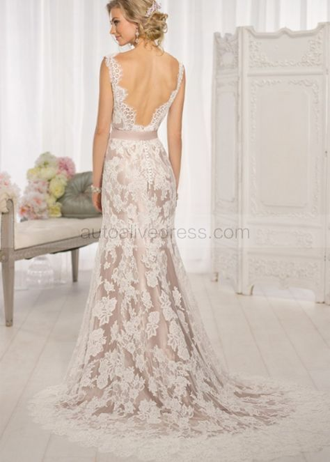 Ivory Lace Deep V Back With Champagne Lining Wedding Dress in 2019 ... cb10b5fc5