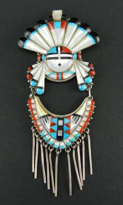 Large Navajo Sterling Sun Symbol Inlaid Mop Turquoise Fringed Pin