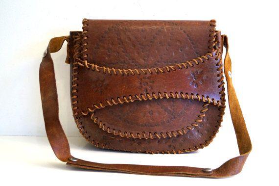 Shoulder Bag Vintage Embossed Genuine Leather Bag by vintagdesign