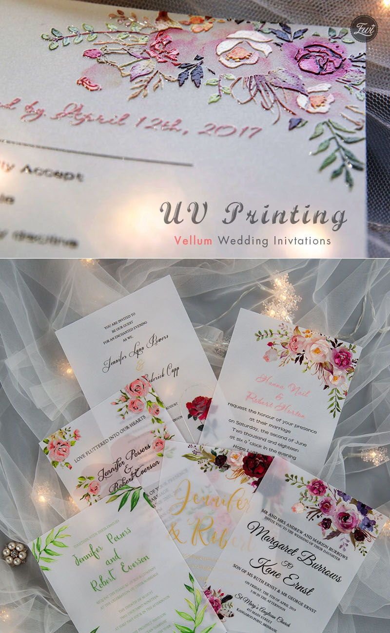 Full Color Thermography Wedding Invites|ElegantWed