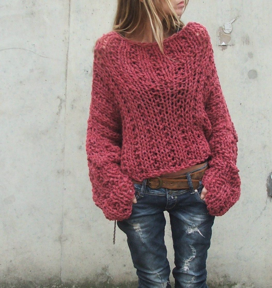 RESERVED for Brenda- Dusky Redish pink chunky sweater / chunky ...