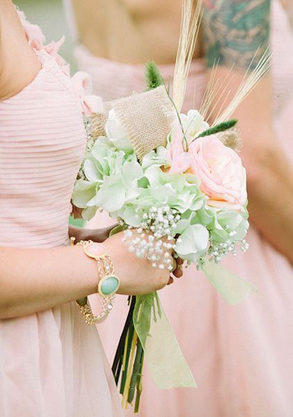 Springy pink and mint bridesmaid bouquet (Photo by Laurelyn Savannah Photography)