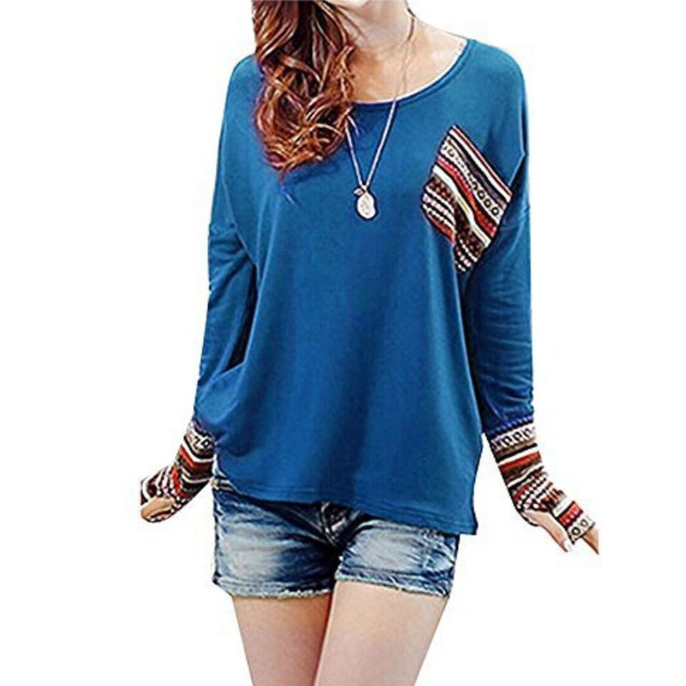 61d2469df672 Chic Womens Round Neck Long Sleeve Tee Plaid Checked Loose Shirt Blouse Tops
