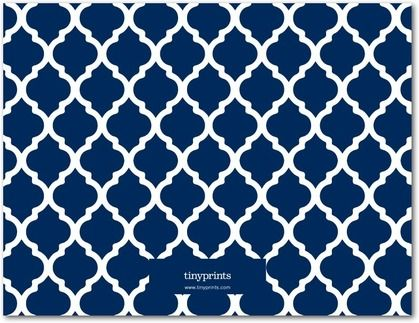 Brilliant Damask - Personal Stationery - Magnolia Press - Navy - Blue : Front