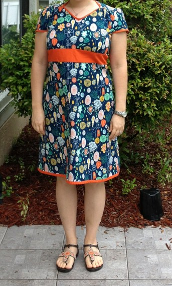Finally finished my first dress from a pattern. New Look 6069. A great shape. Had to alter the back bodice quite a bit, but I'm happy with this first effort.