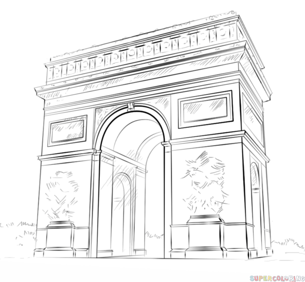 Architecture Drawing Basics how to draw the arc de triomphe stepstep. drawing tutorials