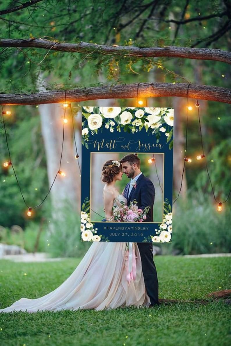 Wedding Photo Prop Navy And White Wedding Photo Booth Frame