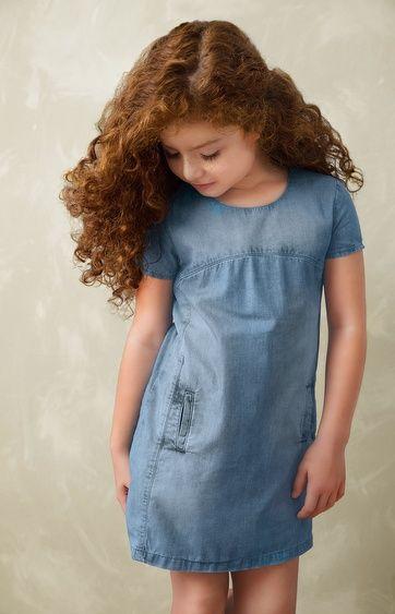 e7317e4f49 Vestido jeans infantil Lavação diferenciada