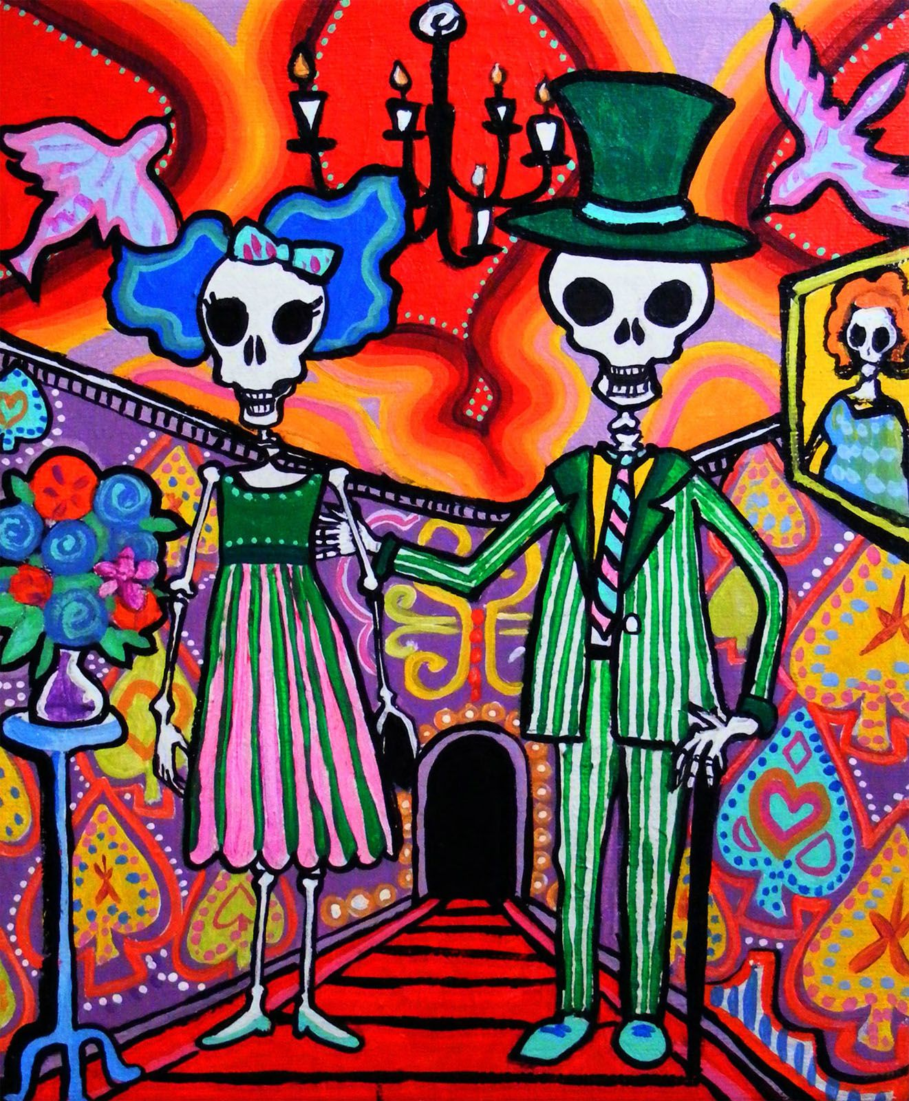 Day Of The Dead Wedding Mexican Folk Art Print Calavera Party On Luulla