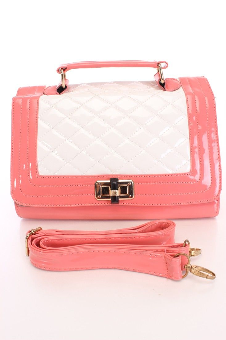 Coral White Patent Quilted Handbag*CELEBRITY STYLE INSPIRED BY MILEY CYRUS*