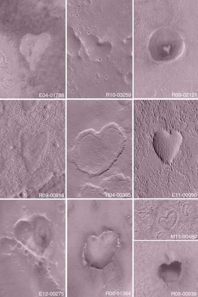 Valentine's day inspiration! Mars is full of heart shaped craters : )