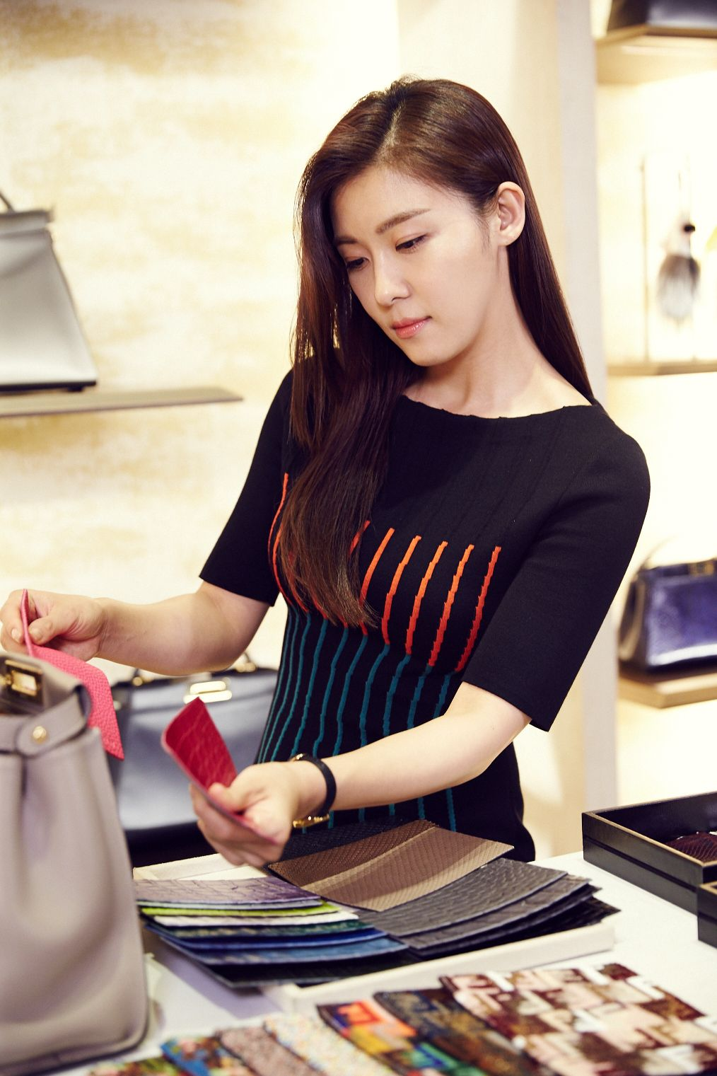 Actress Ha Ji-won during the making of her unique bag for the Fendi Seoul Peekaboo Project