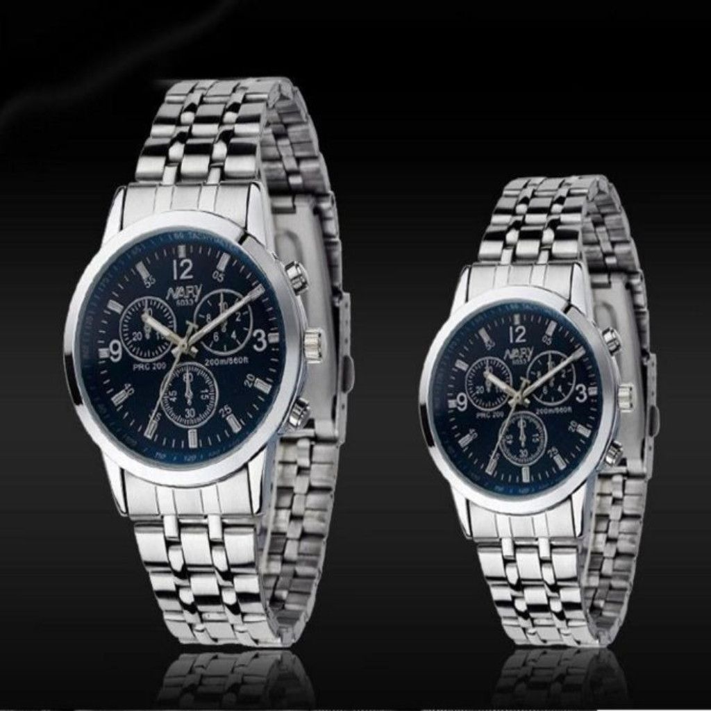 Stainless analog quartz couple watch his and hers stuff