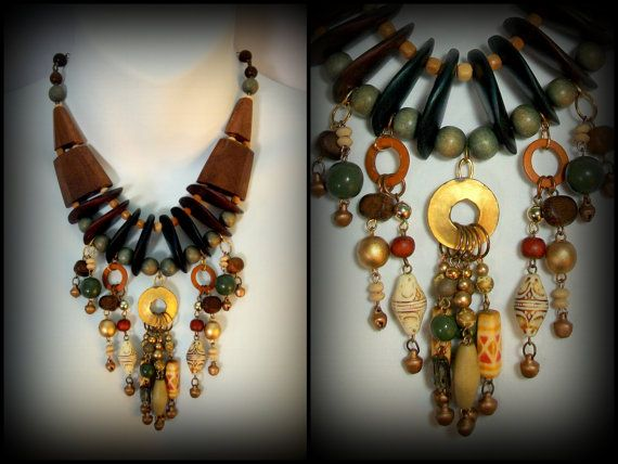 Plains of Africa - Mixed Media Statement Necklace from Reclaimed Vintage Jewelry