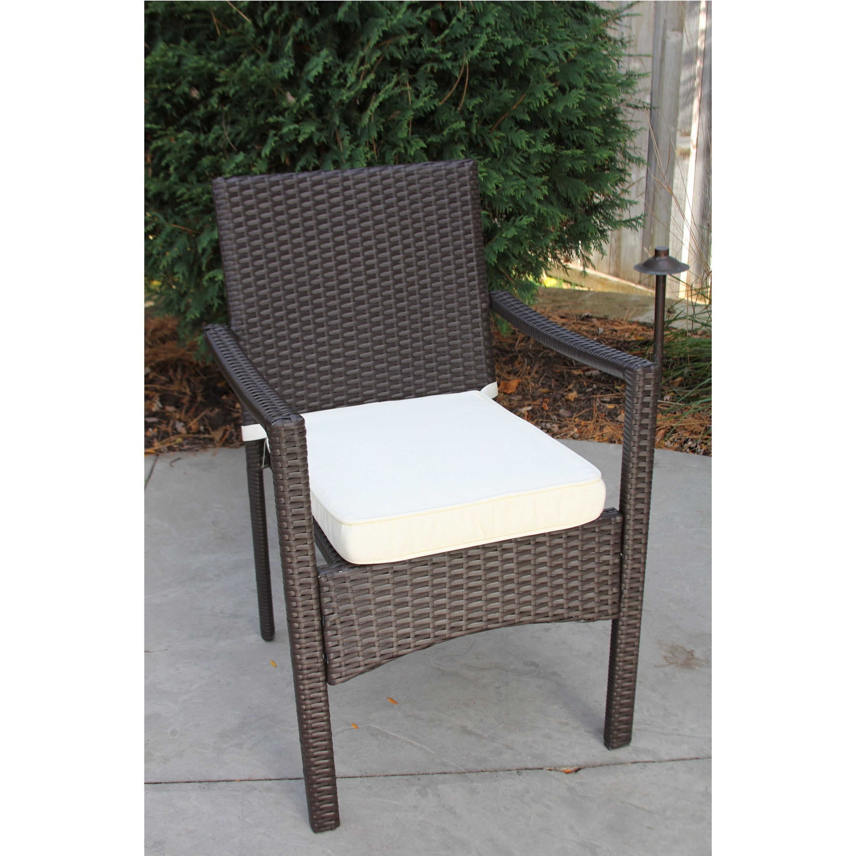 Discontinued Single Outdoor Espresso Brown Wicker Dining Chair W