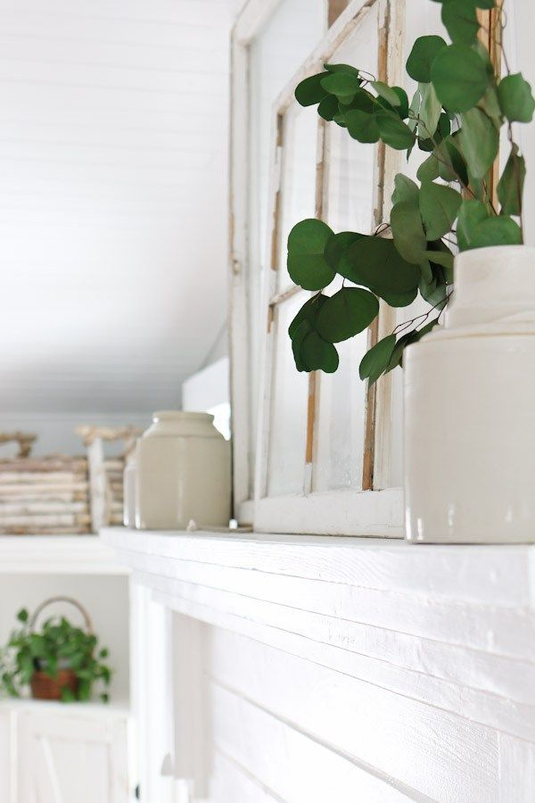 White Living Room and Mantel Decor - Tidbits