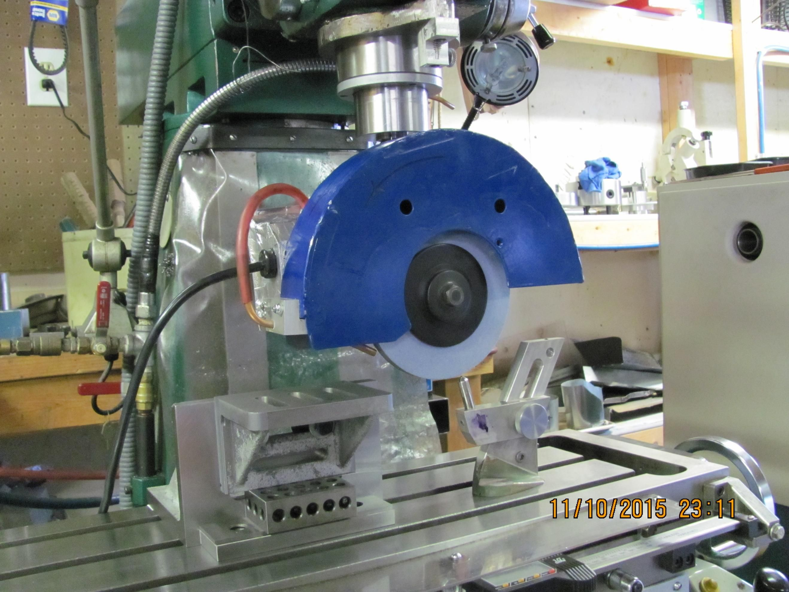 Homemade Surface Grinder by turntable - Hi guys; here is my homemade surface grinder. made from Makita chop saw. works very well. in the pic was setting up ...