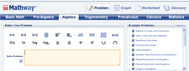 Mathway Provides Students With The Tools They Need To Solve Their Math Problems With Tens Of Millions Of Problems Al Algebra Problems Math Websites Basic Math