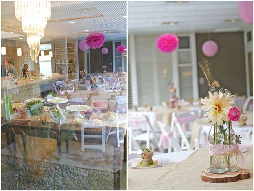 Elegant Baby Showers Decorations Ideas ~ Pink white elegant baby shower outdoor tables