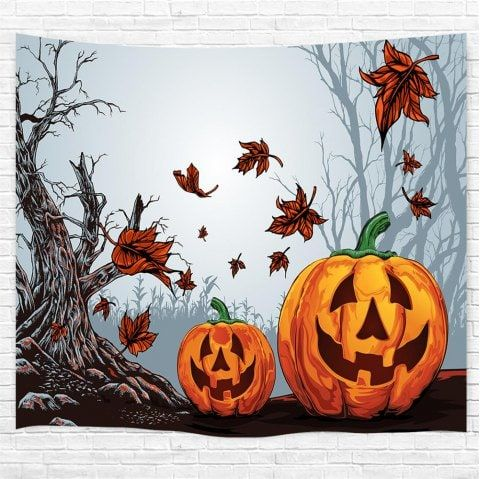 Dead Tree Red Leaf Pumpkin 3D Printing Home Wall Hanging