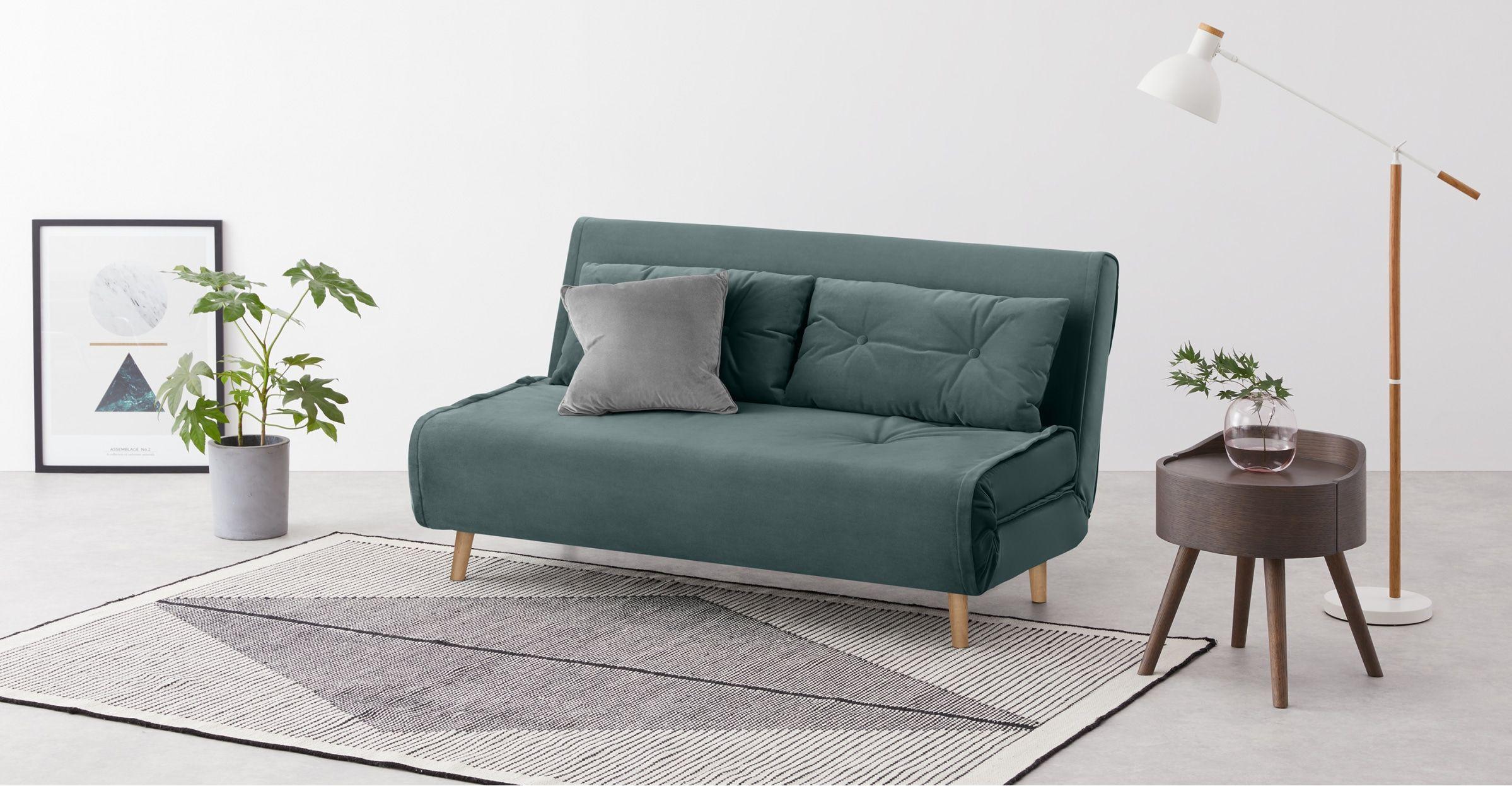 Haru Large Double Sofa Bed Marine Green Velvet In 2020 Sofa Bed Velvet Sofa Bed Foam Sofa Bed