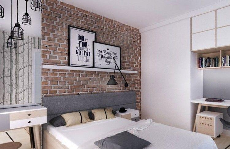 attraktive-wandgestaltung-schlafzimmer-tapete-ziegeloptik-regale ...