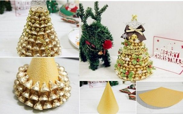 Homemade christmas gift idea tabletop tree gold chocolates Homemade christmas gifts
