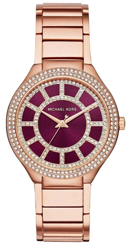 4d734f45be88 NWT Michael Kors Ladies  Michael Kors Women s Kerry Rose Red Maroon Gold- Tone Stainless Steel Bracelet Watch 37mm MK3434. Free shipping and  guaranteed ...