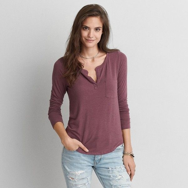 2359c008 AE Henley Long Sleeve T-Shirt ($30) ❤ liked on Polyvore featuring tops, t- shirts, purple, purple long sleeve top, henley t shirts, american eagle ...