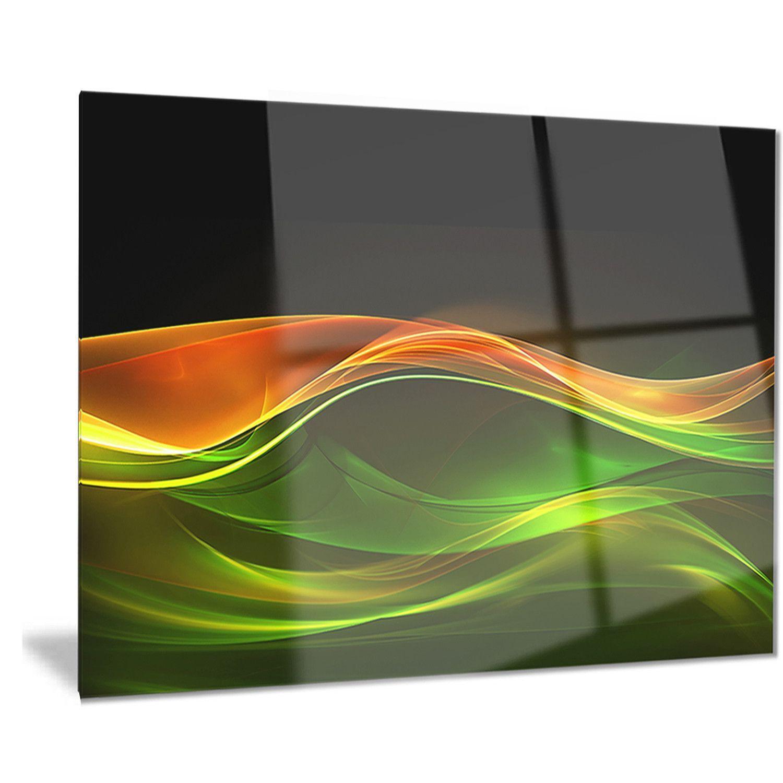 Designart 'Abstract Green in Black' Abstract Digital Art Metal Wall Art