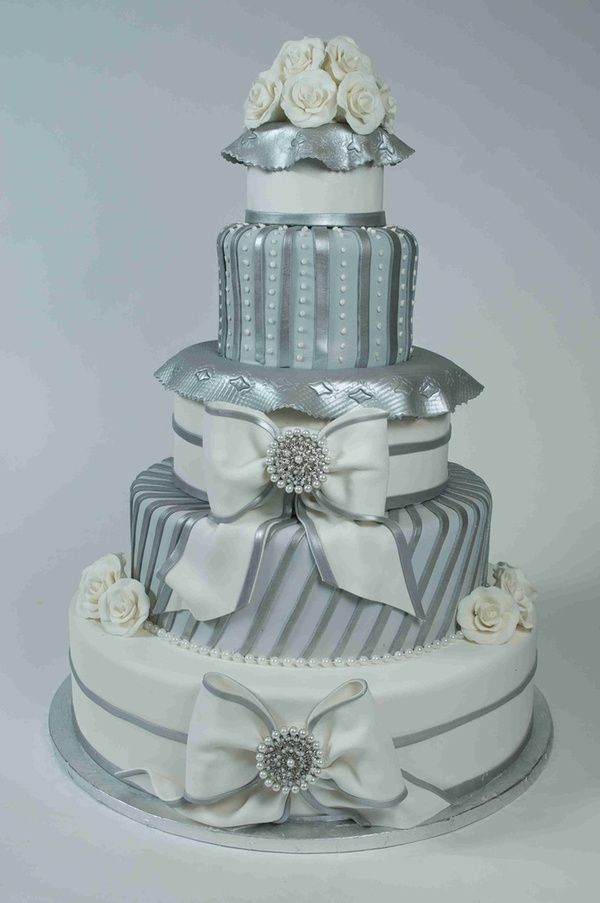 Modern Five Tier Gold Fondant Wedding Cake